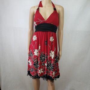 Speechless Red Black Floral Halter Dress Size XL